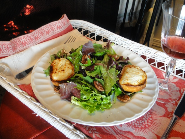 French Dinner by Fire - Goat Cheese Salad